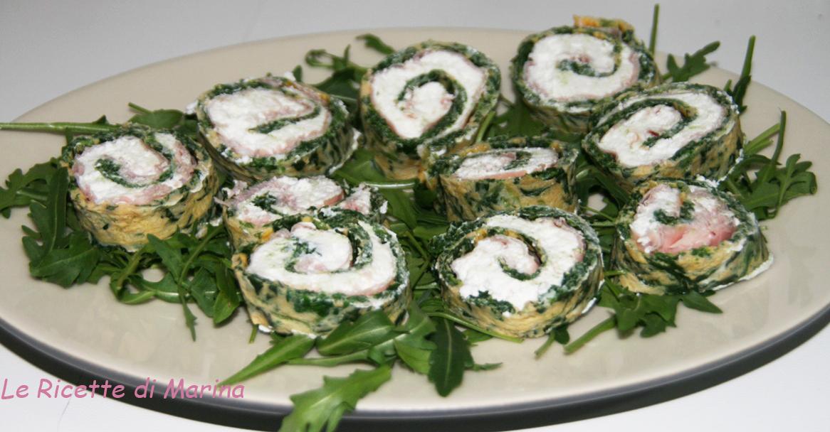 Girelle di frittata di spinaci e ricotta