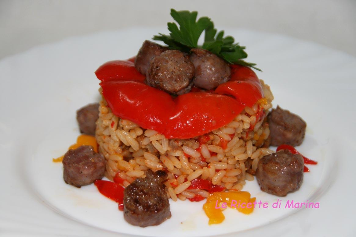 Risotto con salsiccia e peperoni