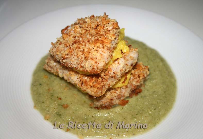 Millefoglie di pesce e patate su crema di cavolo romano