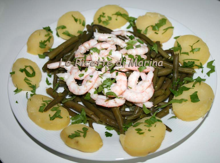 insalata di gamberi patate e fagiolini