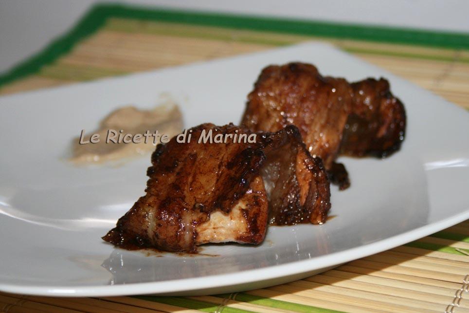 Bocconcini di maiale con crema di porcini