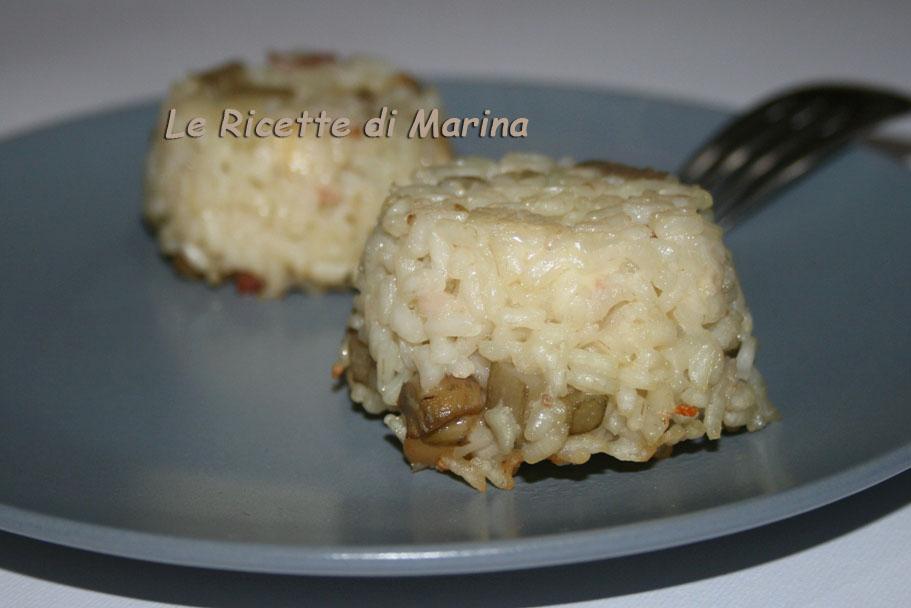 Sformatini di riso e carciofi, con taleggio e speck