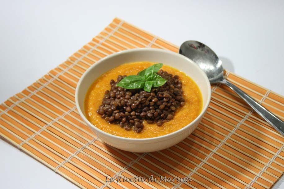 Zuppa lenticchie zucca e zucchetta