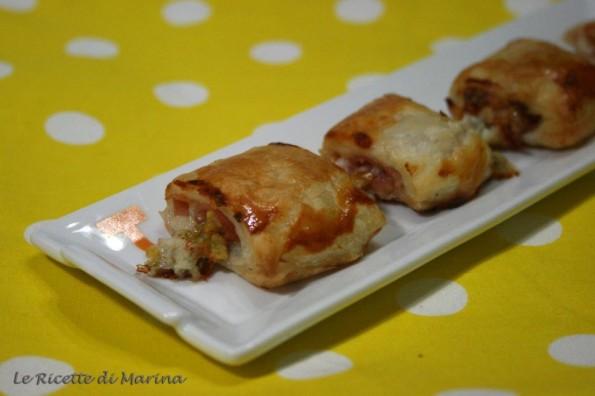 Fagottini di sfoglia con gorgonzola, mortadella e pistacchi