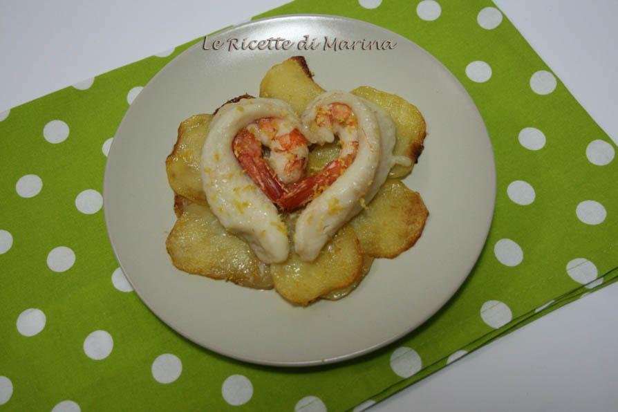 Cuore di pesce con patate, ricetta di San Valentino