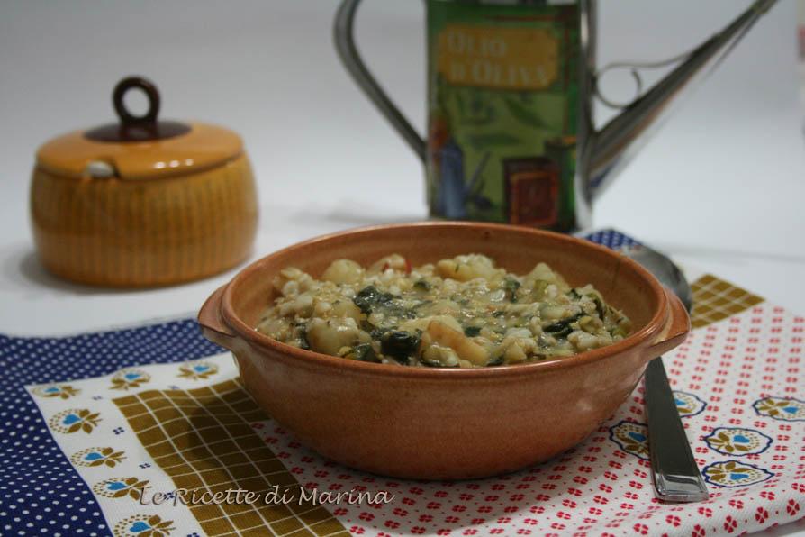 Zuppa di avena con sedano rapa, lenticchie e cicoria