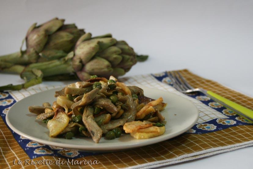 Carciofi patate e piselli, contorno primaverile