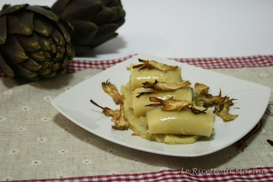 Paccheri ripieni con baccalà e carciofi mantecati