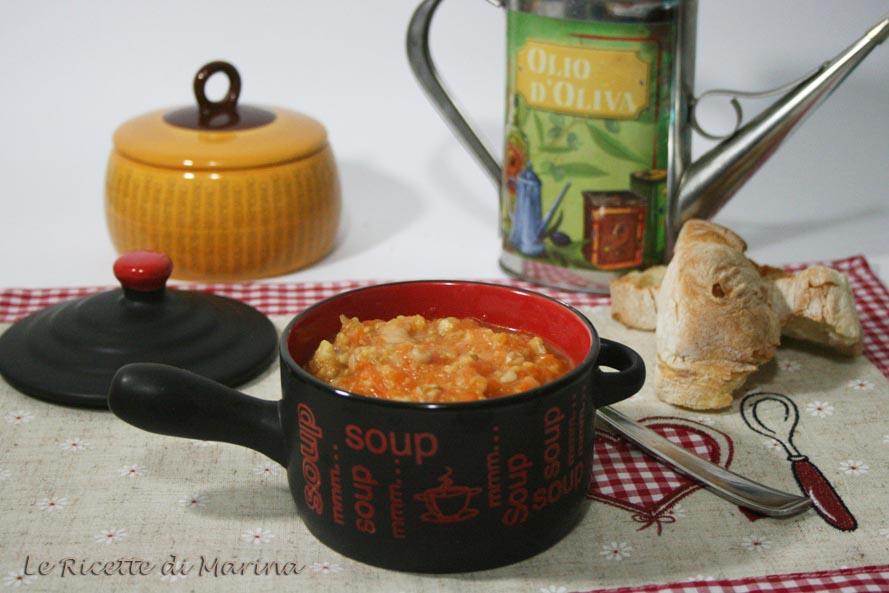 Zuppa di zucca avena e cavolo verde