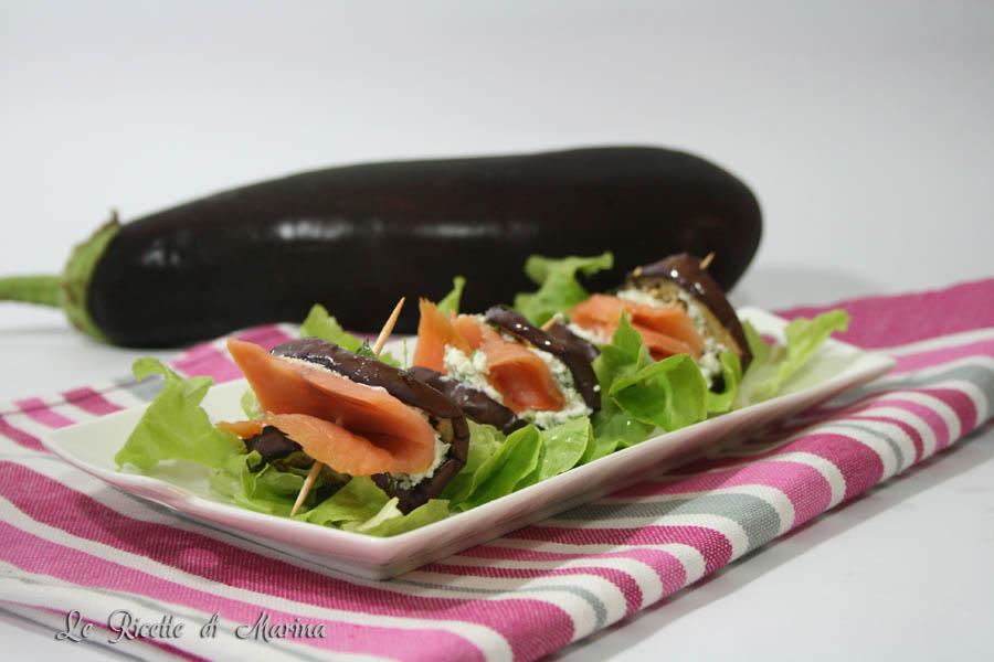 Melanzane grigliate con ricotta e salmone