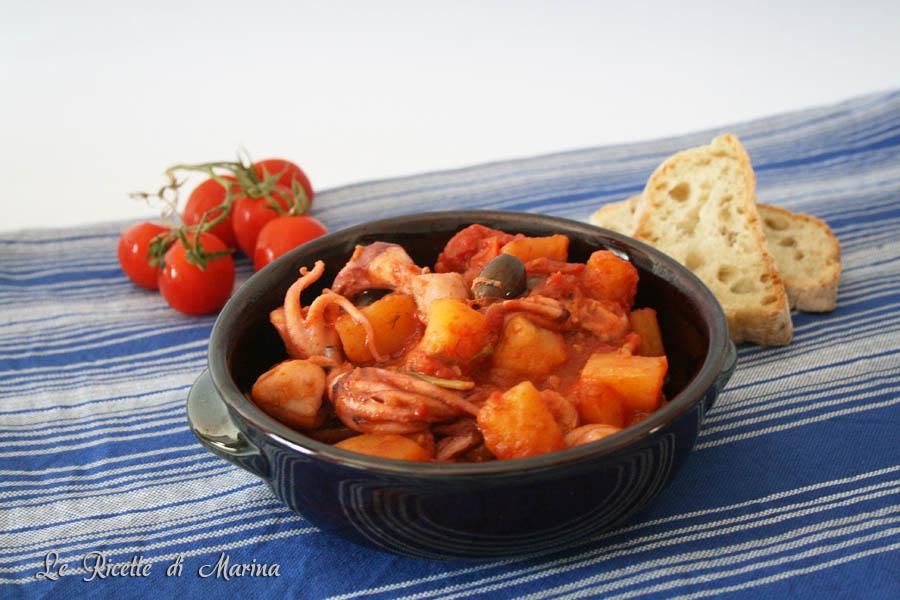 Moscardini con patate e pomodoro