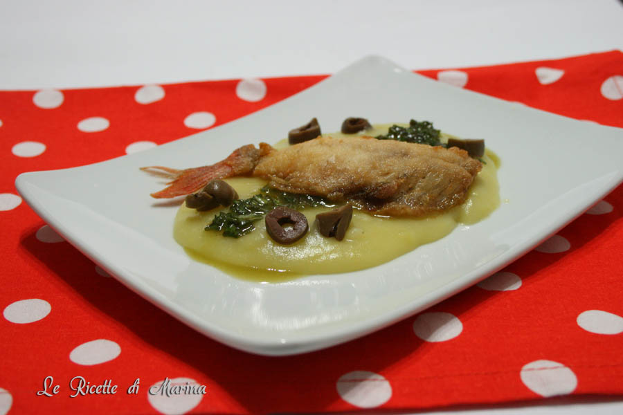 Filetto di triglia su crema di patate al basilico