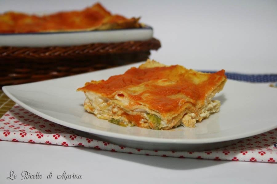 Lasagna con zucca ricotta e gamberetti