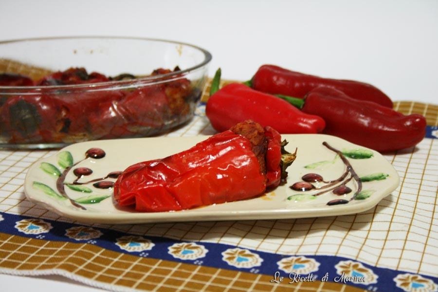 Peperoni ripieni di riso e melanzane