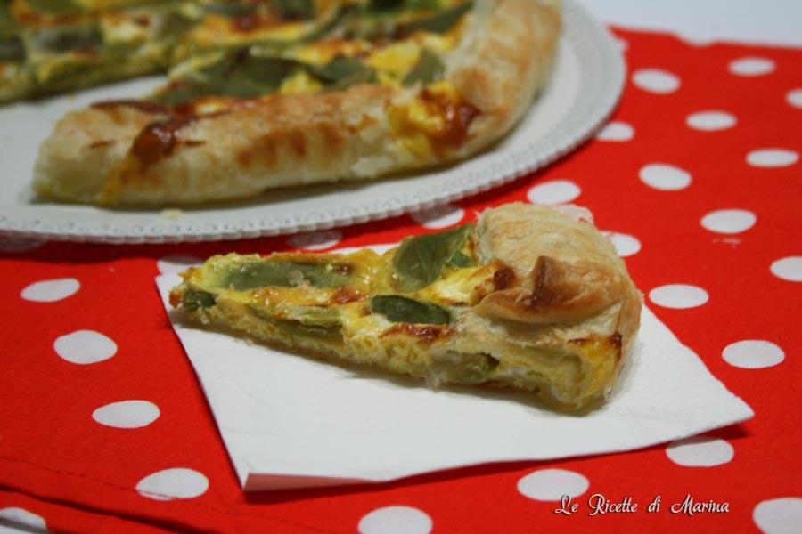 Pizza rustica con taccole e formaggio