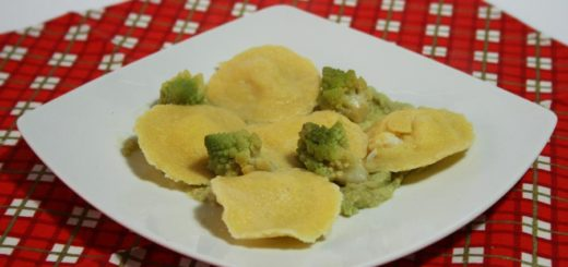 Ravioli con baccalà e cavolo romanesco