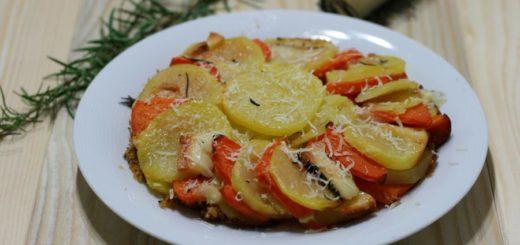 Tortino di zucca e patate con formaggio al rosmarino