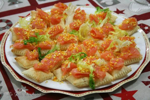 Quadratini si sfoglia con salmone agli agrumi