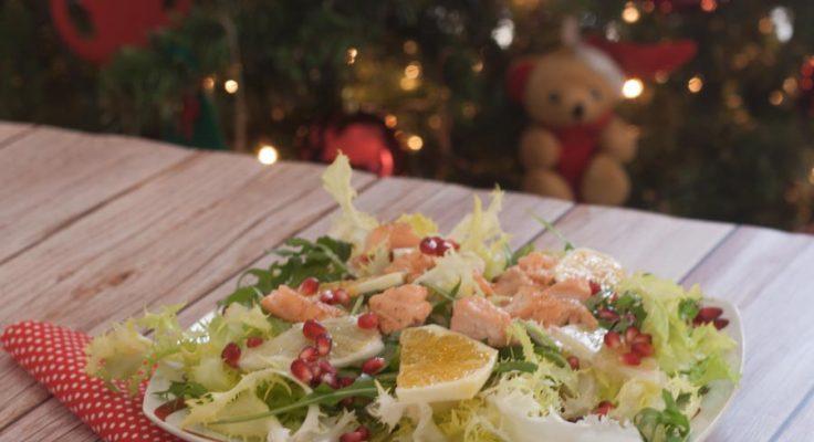 Insalata tiepida con salmone e agrumi