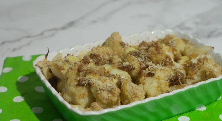 Cavolfiore gratinato con salsiccia e formaggio