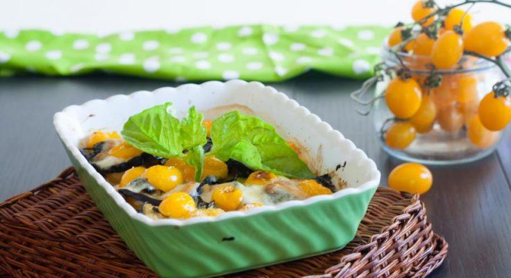 Melanzane al forno con pomodorini gialli