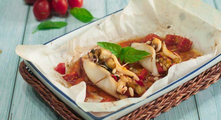 Calamari ripieni di pomodorini e melanzane